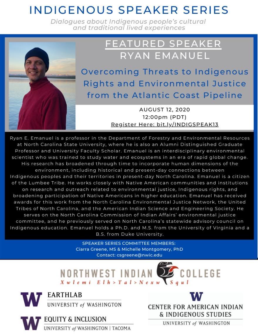 Indigenous Speaker Series: Ryan Emanuel