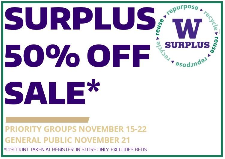 UW Surplus Store Purple Tuesday 50% OFF Sale