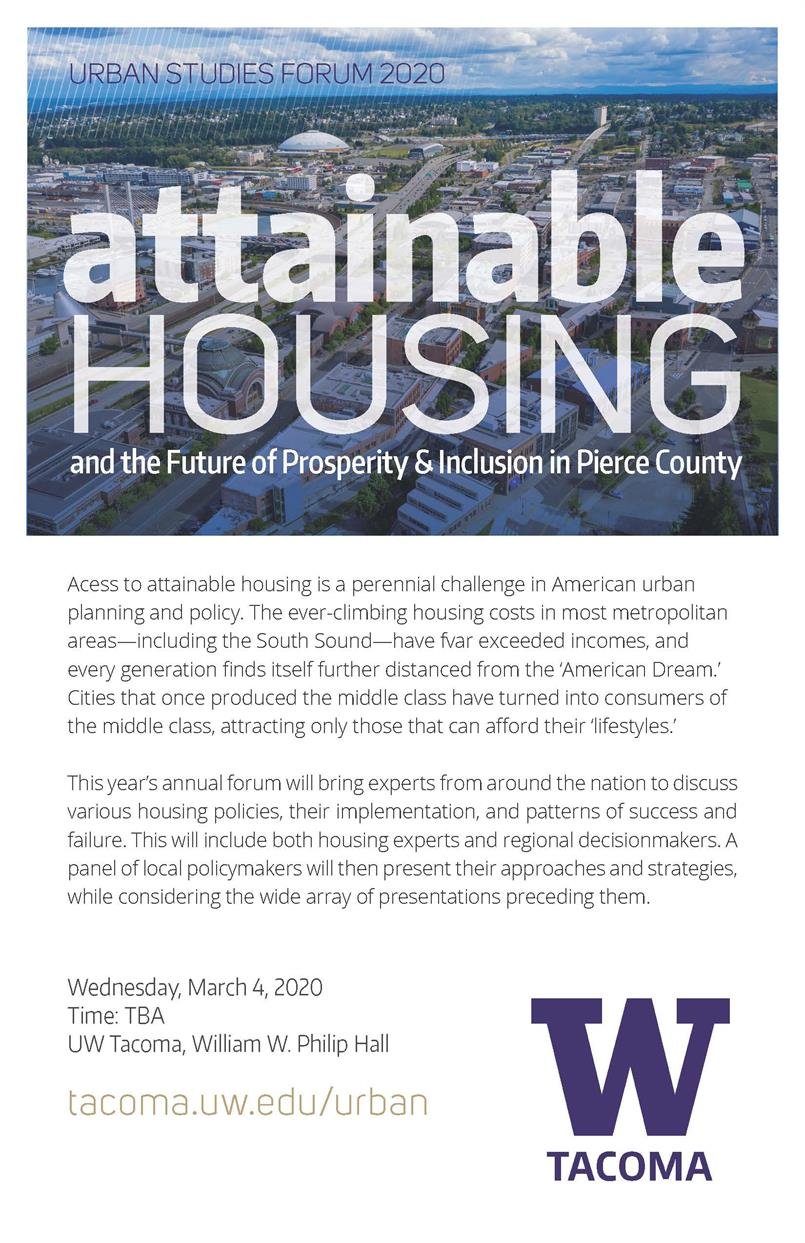 "2020 Urban Studies Forum ""Attainable Housing and the Future of Prosperity & Inclusion in Pierce County"