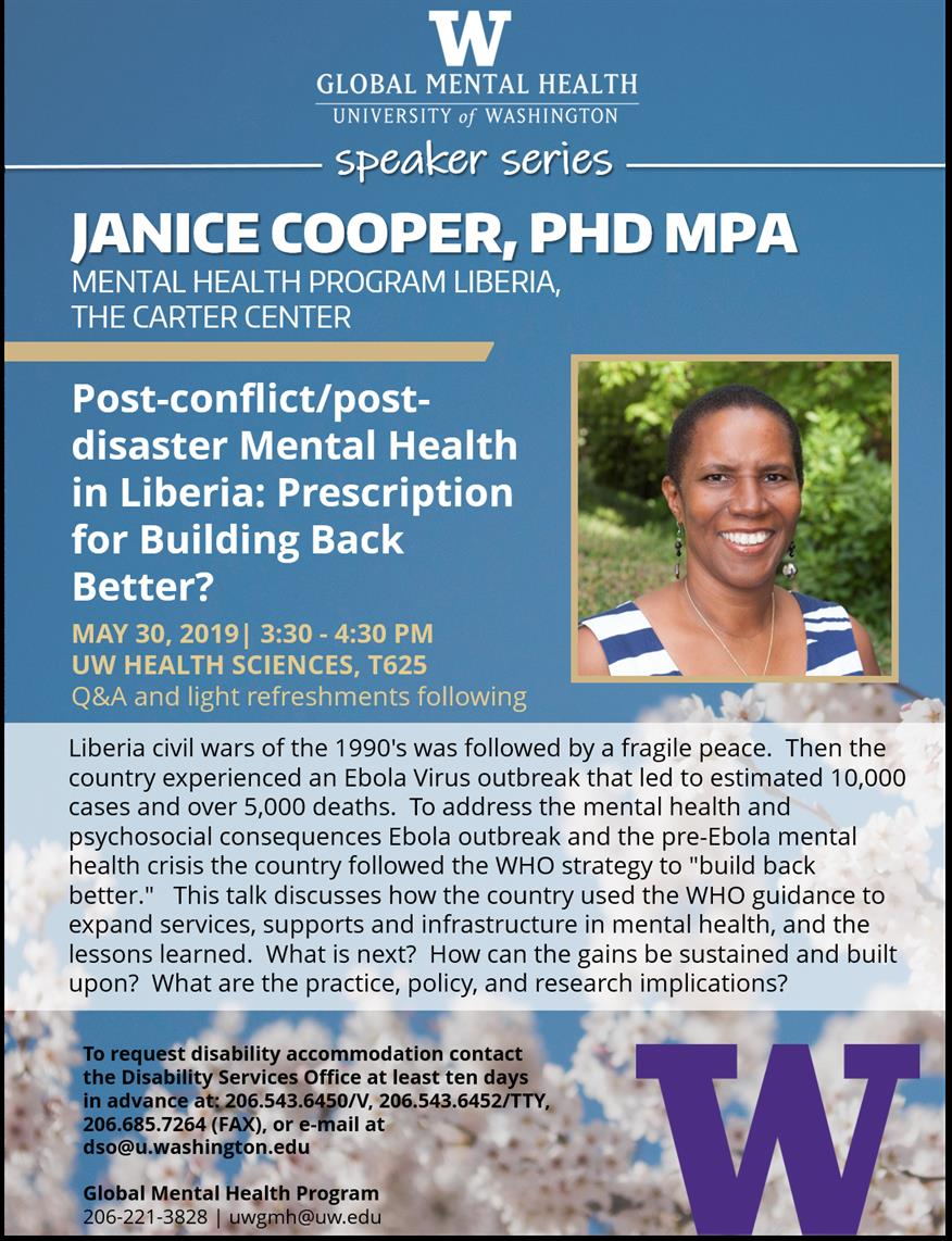 Post-conflict/post-disaster Mental Health in Liberia: Prescription for Building Back Better?