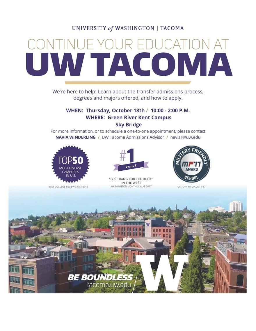 UW Tacoma Admissions at Green River College, Kent Campus