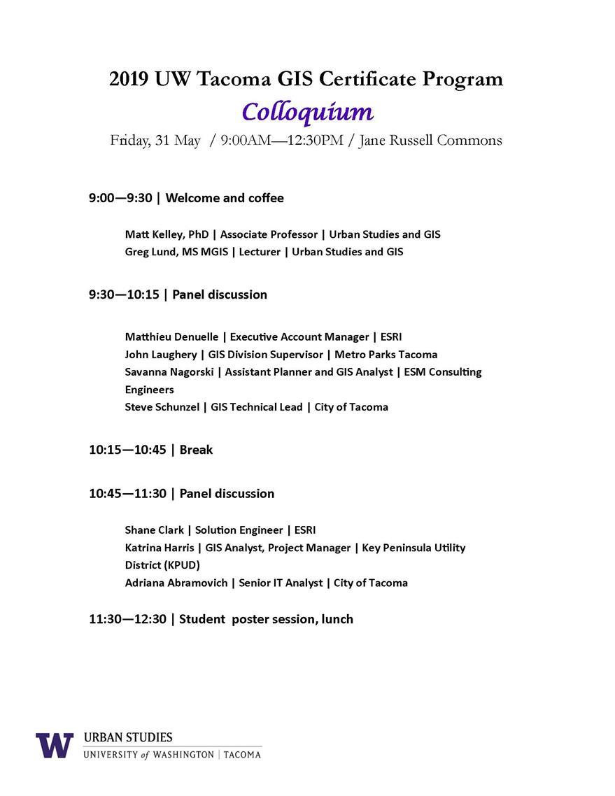 Annual GIS Certificate Program Colloquium