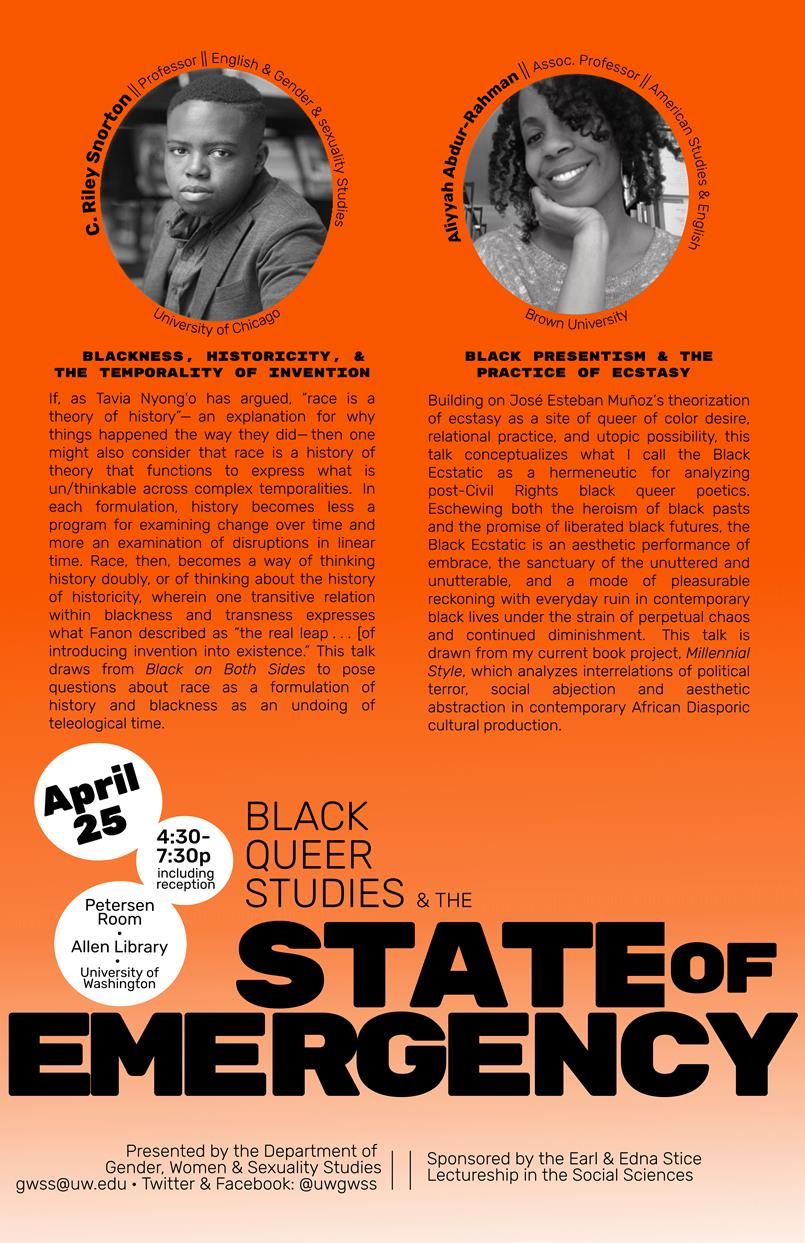 Black Queer Studies and the State of Emergency with Professors C. Riley Snorton and Aliyyah Abdur-Rahman