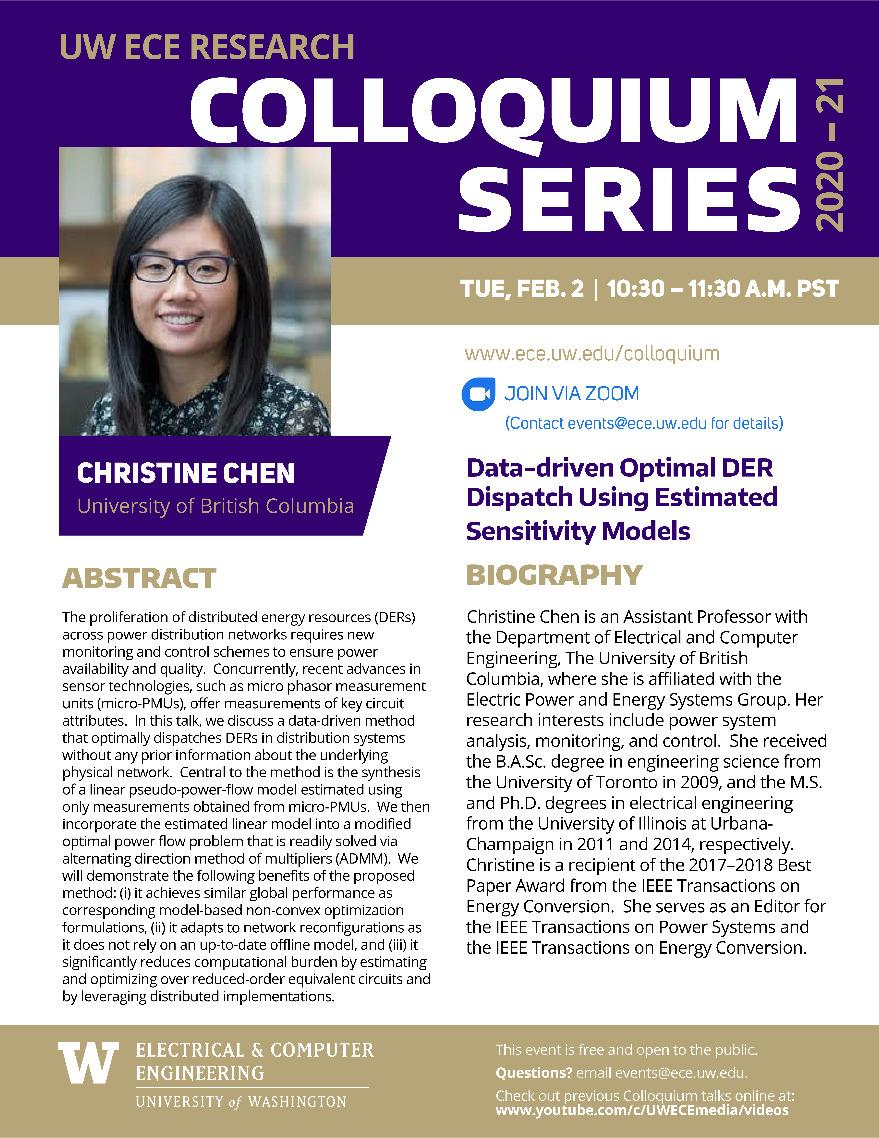 UW ECE Research Colloquium Lecture Series | Data-driven Optimal DER Dispatch Using Estimated Sensitivity Models - Christine Chen, University of British Columbia
