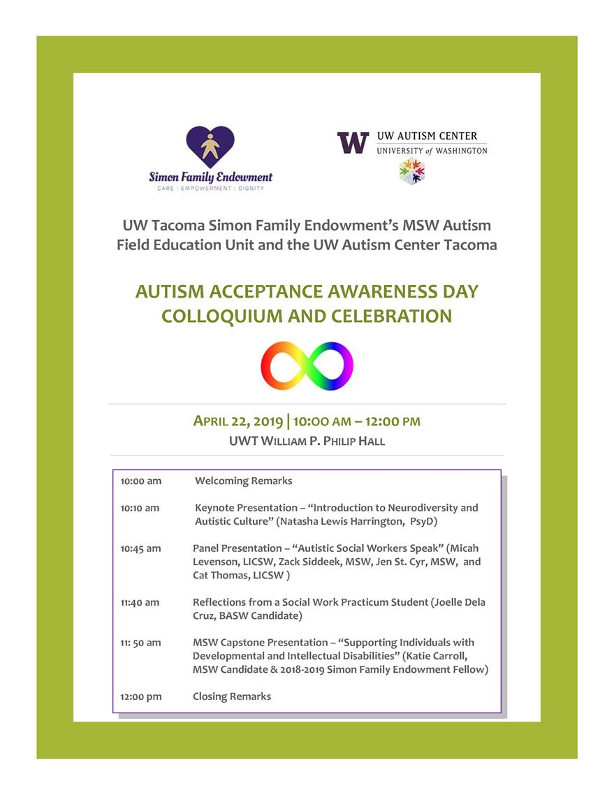 UW Tacoma Autism Acceptance Awareness Day Colloquium and Celebration