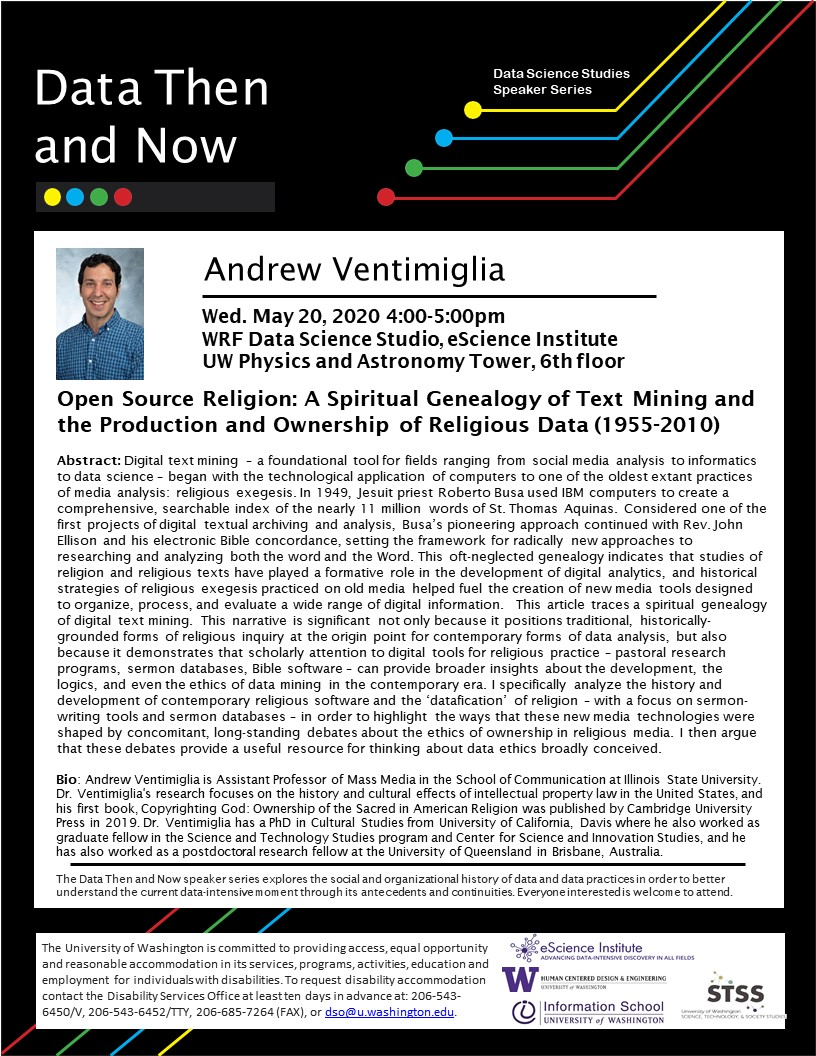 "CANCELED - ""Open Source Religion: A Spiritual Genealogy of Text Mining  and the Production and Ownership of Religious Data (1955-2010)"" by Andrew Ventimiglia"