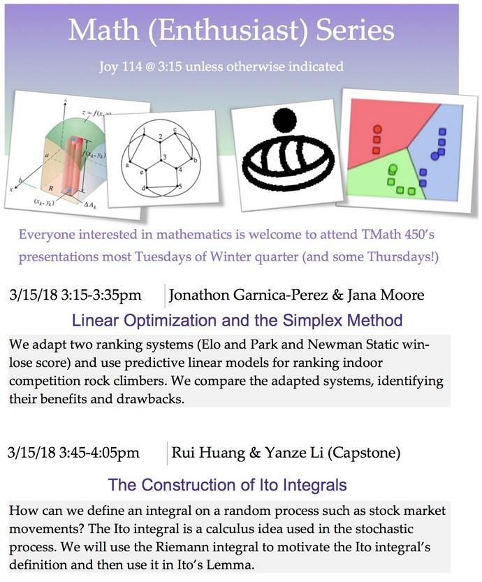 Math (Ethusiast) Talk: Student Presentations