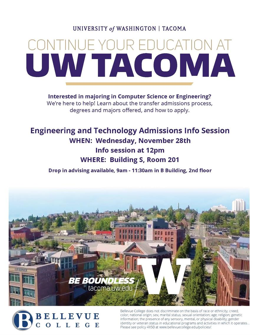 UW Tacoma Admissions and School of Engineering & Technology at Bellevue College