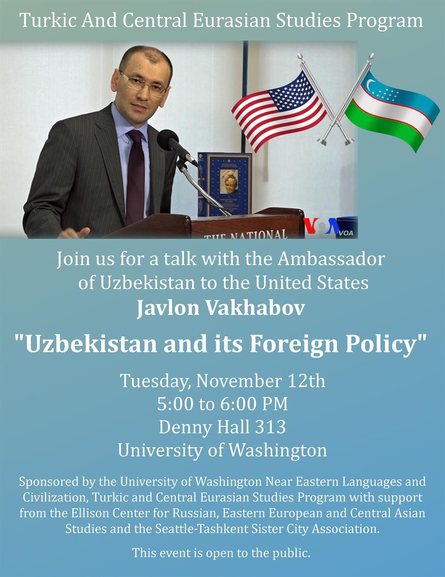 CANCELLED: Uzbek Ambassador Javlon Vakhabov on Uzbekistan and Its Foreign Policy