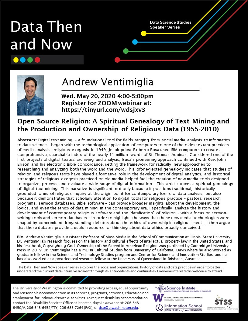 WEBINAR: Open Source Religion: A Spiritual Genealogy of Text Mining  and the Production and Ownership of Religious Data (1955-2010) - Andrew Ventimiglia