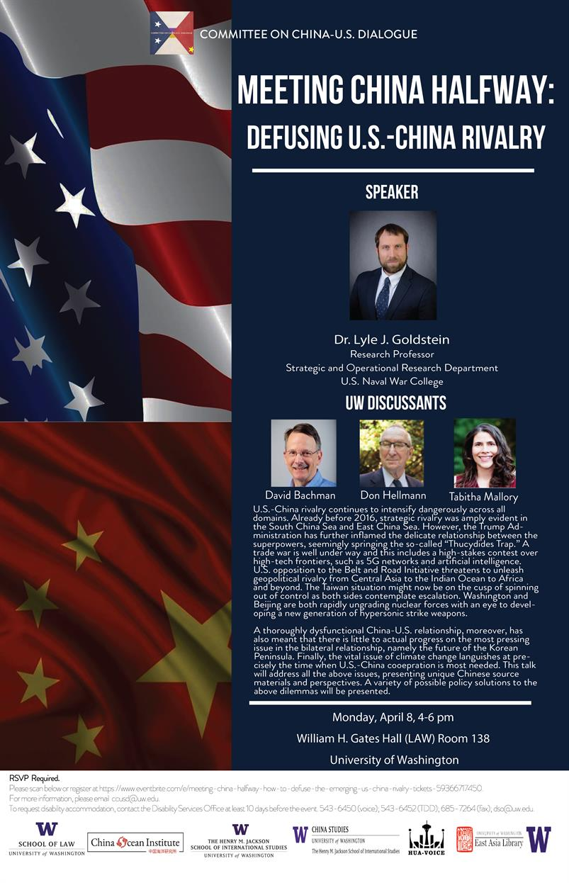 "Meeting China Halfway: Defusing U.S.-China Rivalry"" with Professor Lyle J. Goldstein, U.S. Naval War College"