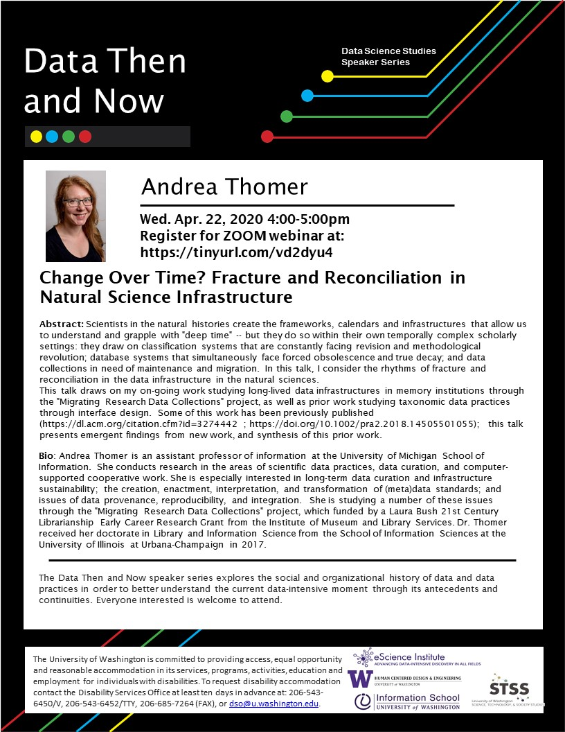 WEBINAR: Change Over Time? Fracture and Reconciliation in Natural Science Infrastructure - Andrea Thomer
