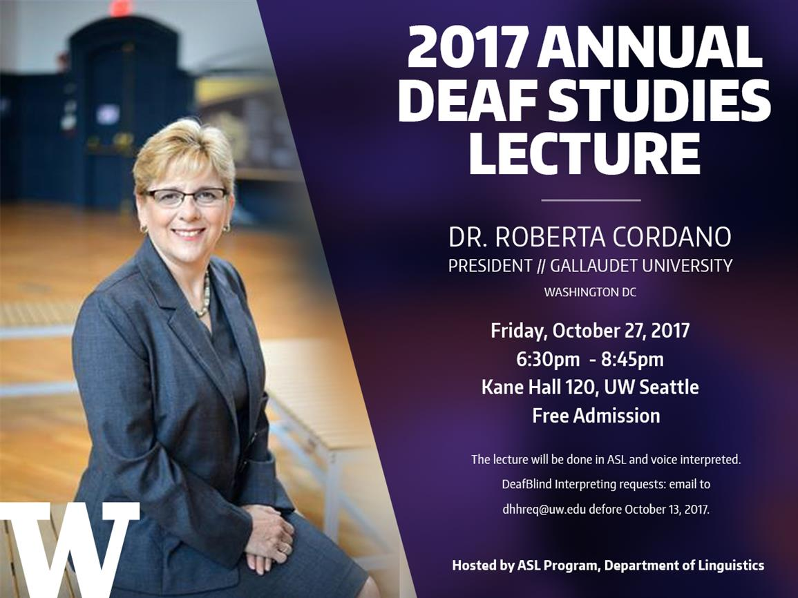 UW Annual Deaf Studies Lecture - Dr. Roberta Cordano