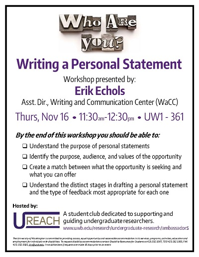 Personal Statement Writing Workshop
