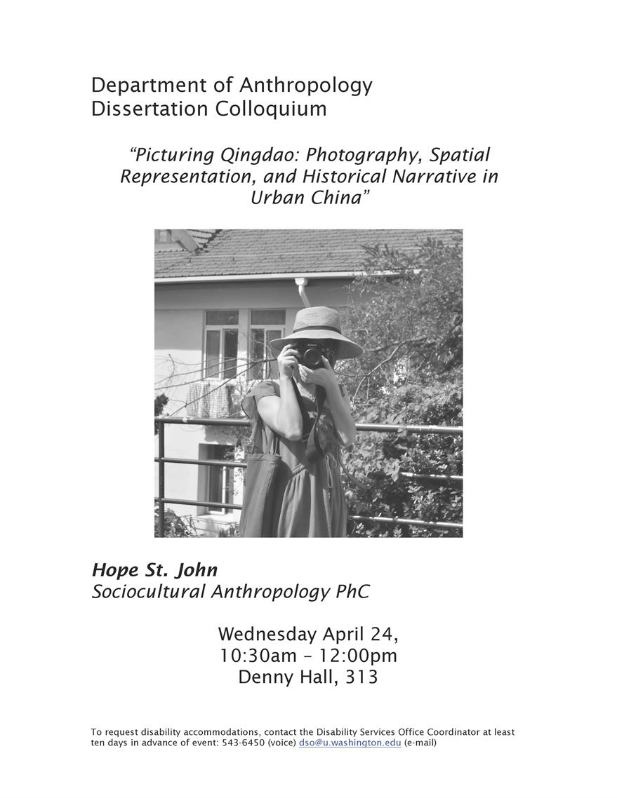 "St John Dissertation Colloquium - ""Picturing Qingdao: Photography, Spatial Representation, and Historical Narrative in Urban China"""