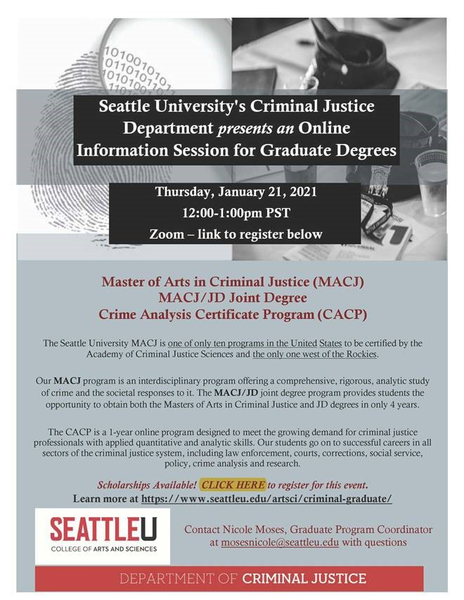 Seattle University's Criminal Justice Department Presents an Online Information Session for Graduate Degrees