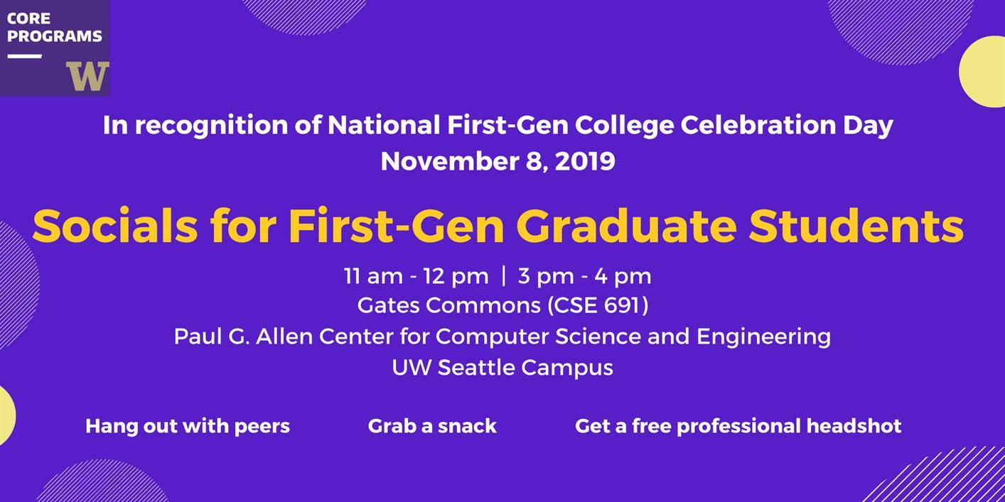 Social Hour for UW First-Gen Graduate Students!