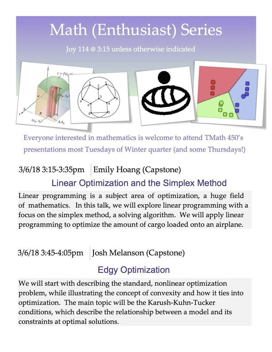 Math (Enthusiast) Series: Student Presentations