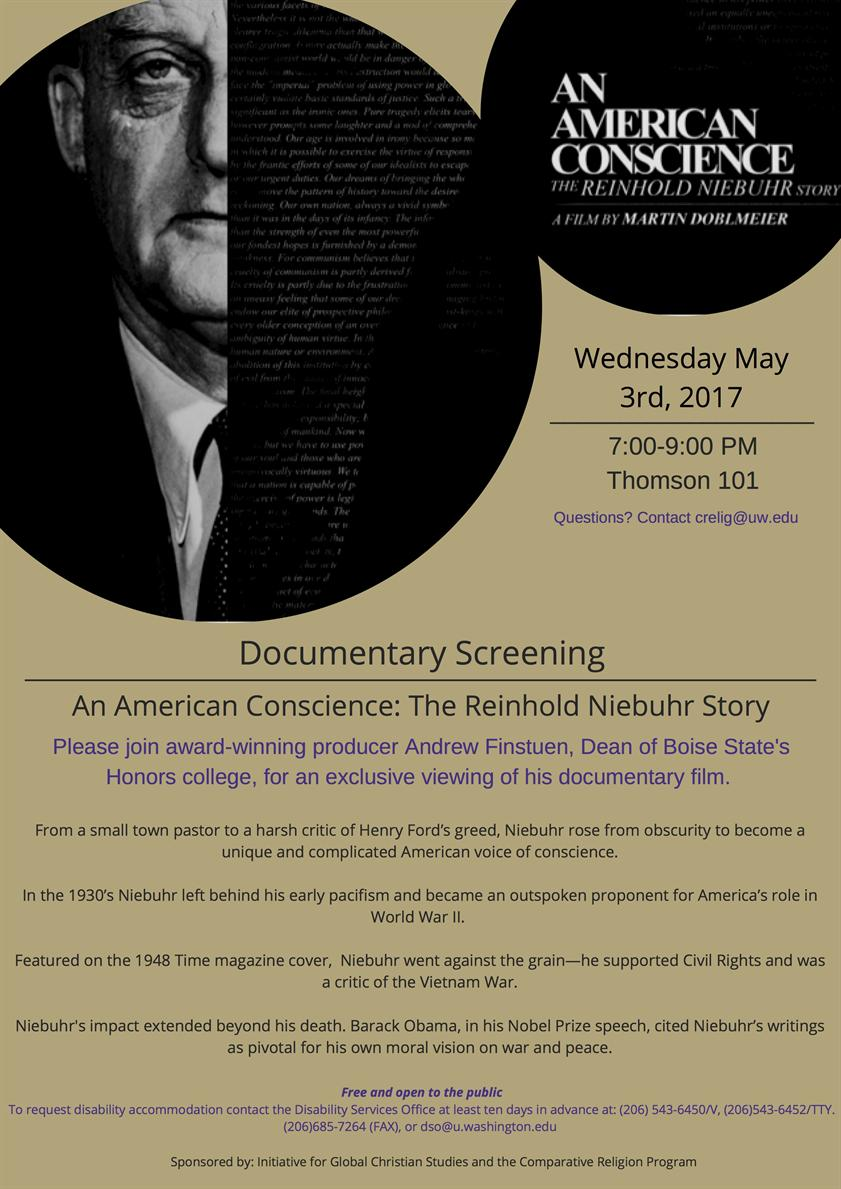 A Documentary Screening - American Conscience: The Reinhold Niebuhr Story