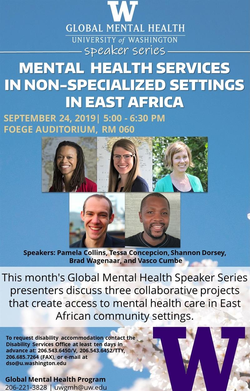 GMH Speaker Series: Mental Health Services in Non-Specialized Settings in East Africa