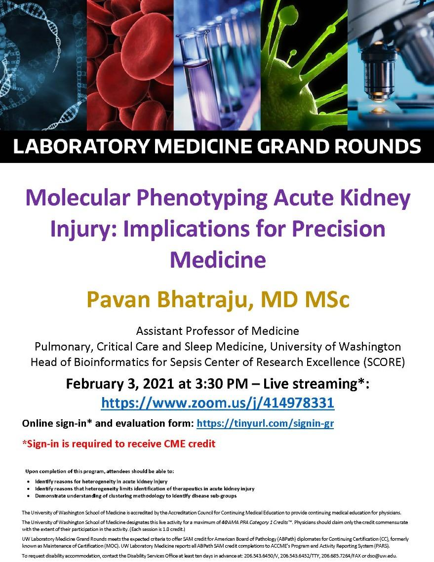 LabMed Grand Rounds: Pavan Bhatraju, MD MSc - Molecular Phenotyping Acute Kidney Injury: Implications for Precision Medicine