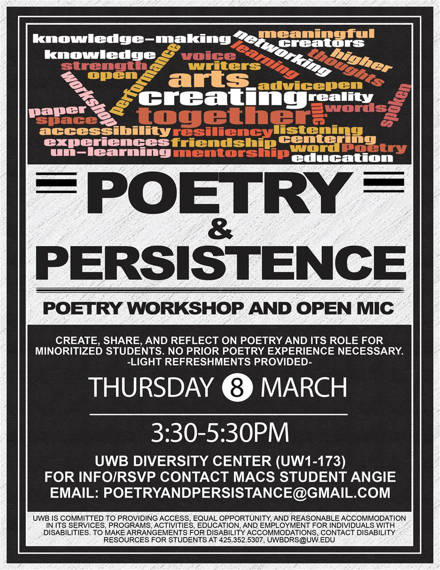 Poetry & Persistence - workshop and open mic