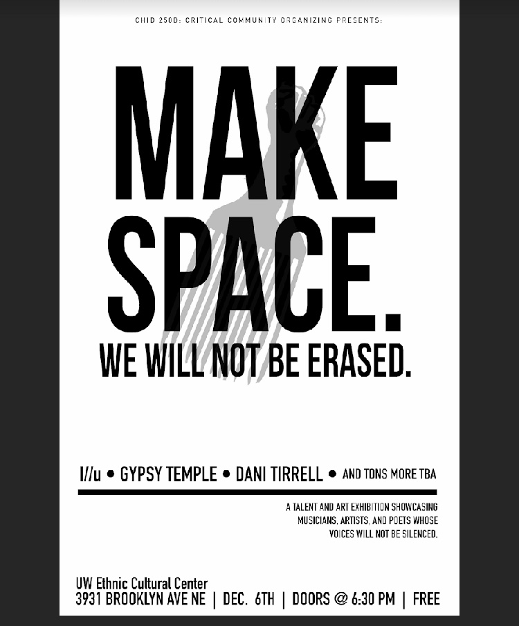 "Exhibition: ""Make Space. We Will Not Be Erased."""