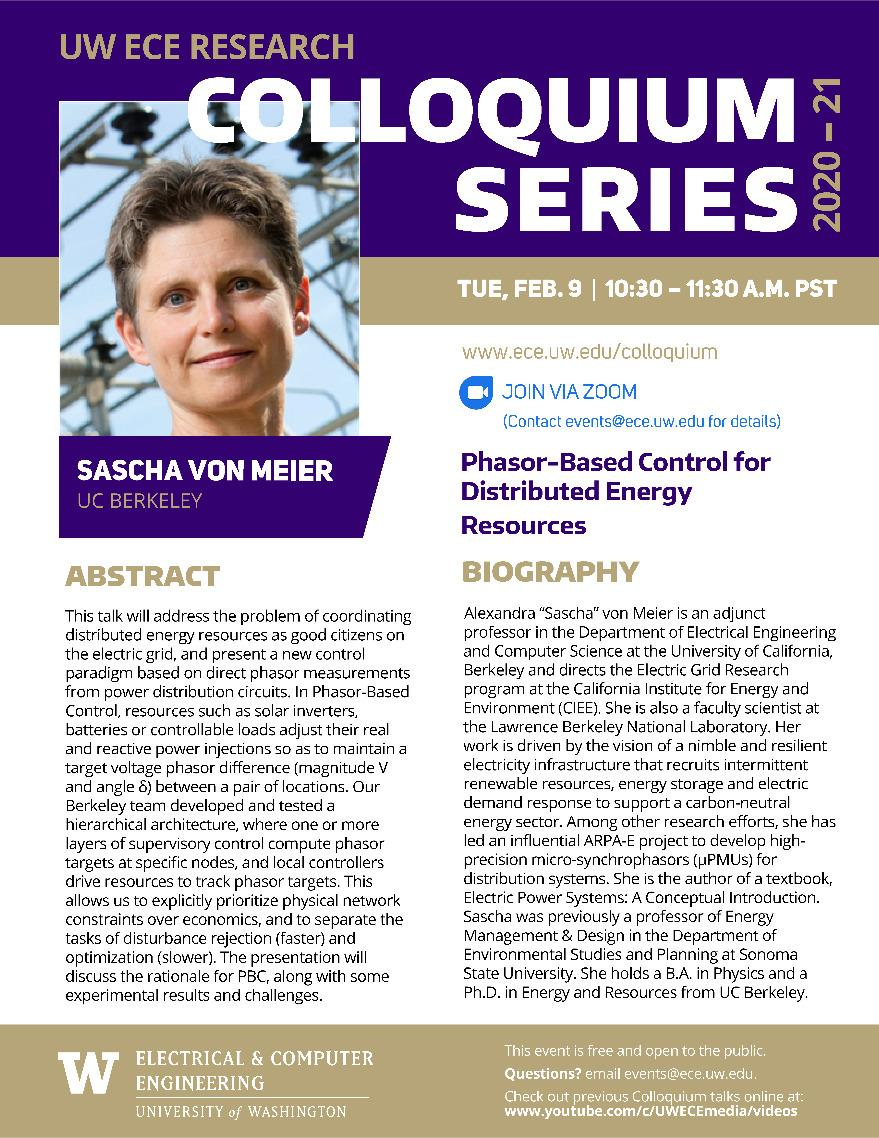 UW ECE Research Colloquium Lecture Series | Phasor-Based Control for Distributed Energy Resources - Sascha von Meir, University of California, Berkeley