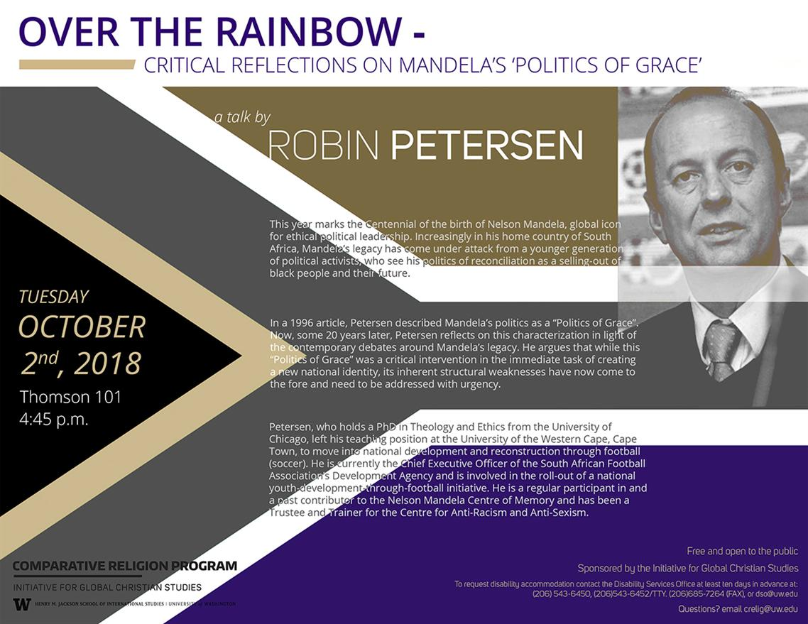 Upcoming Talk - Over The Rainbow: Critical Reflections on Mandela's 'Politics of Grace' - a talk by Robin Petersen