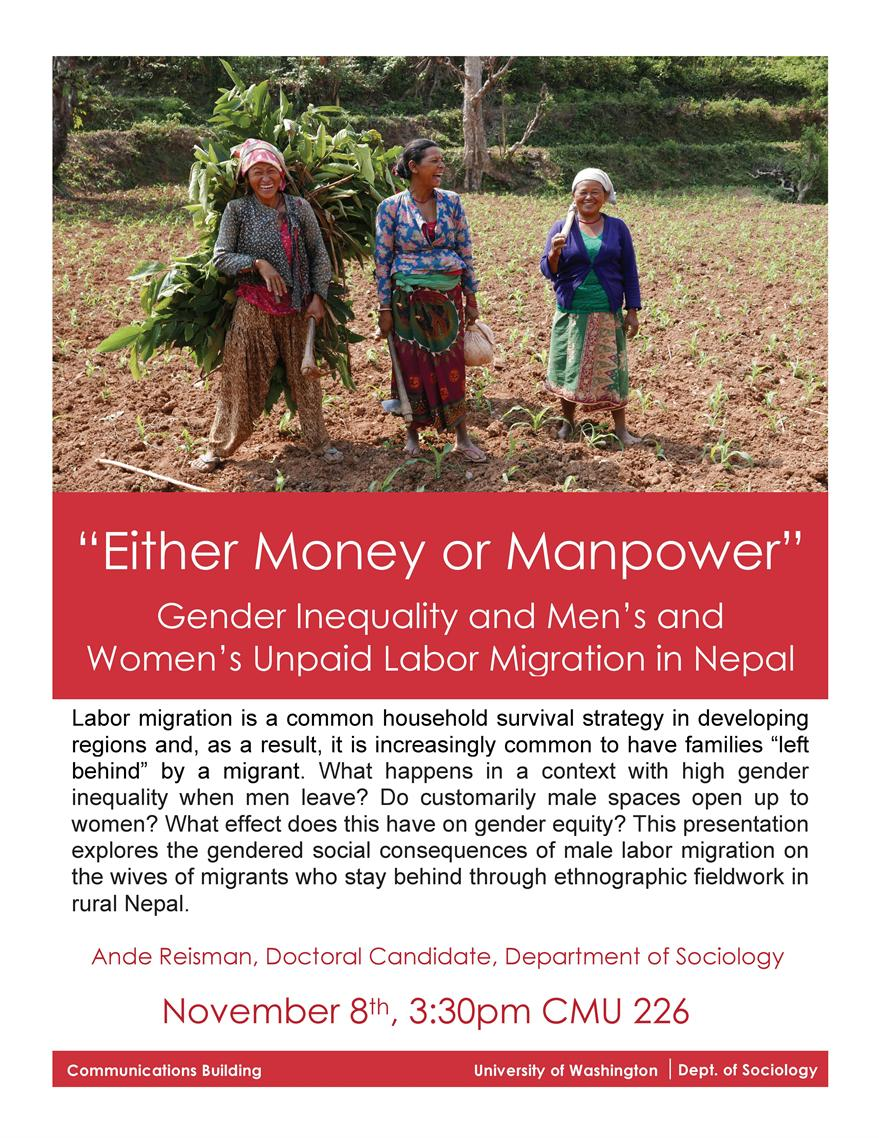 """Either Money or Manpower"": Gender Inequality and Men's and Women's Unpaid Labor during Labor Migration in Nepal"
