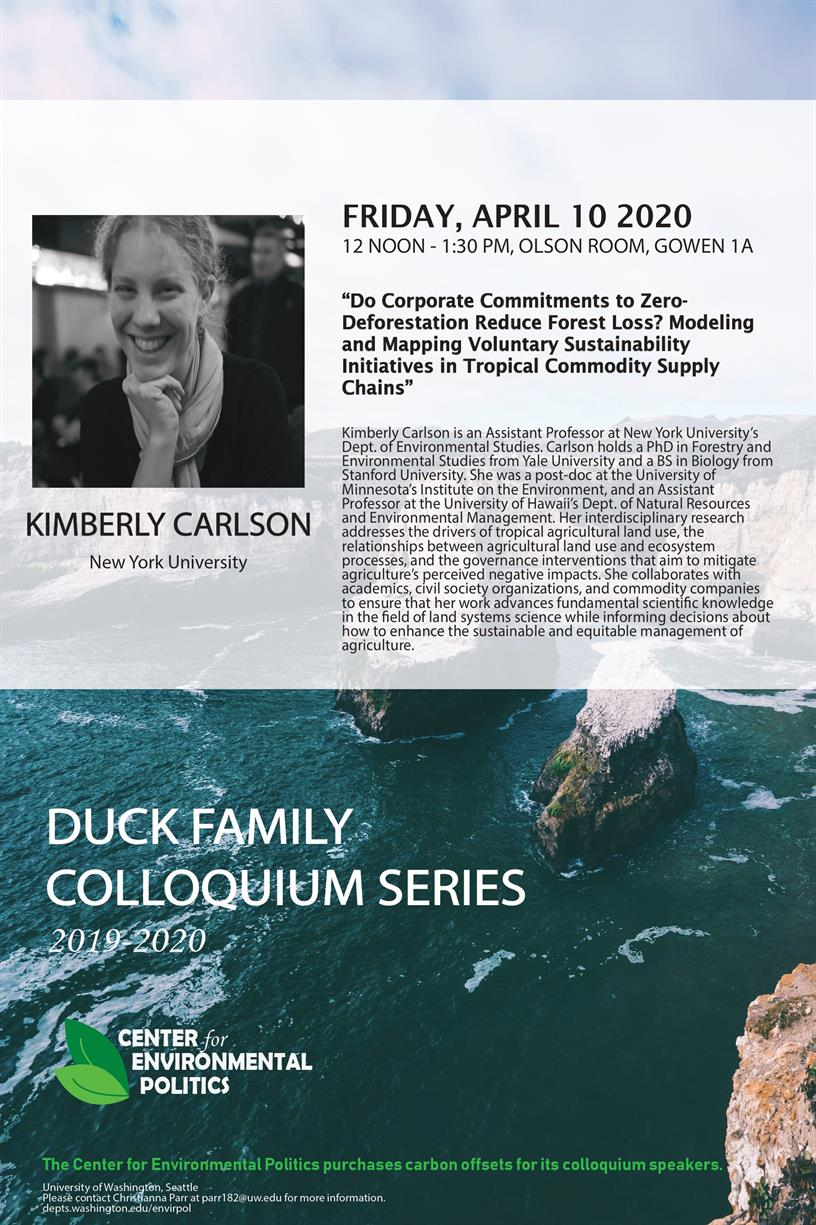 CANCELED - Kimberly Carlson: UW Center for Environmental Politics' Duck Family Colloquium Series