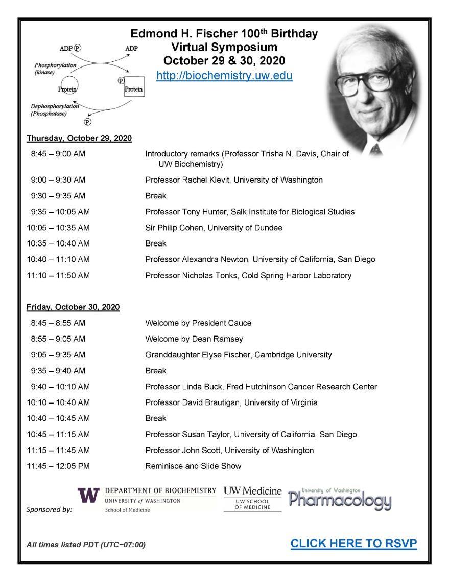 Edmond H. Fischer 100th Birthday Virtual Symposium - Oct 29 & 30
