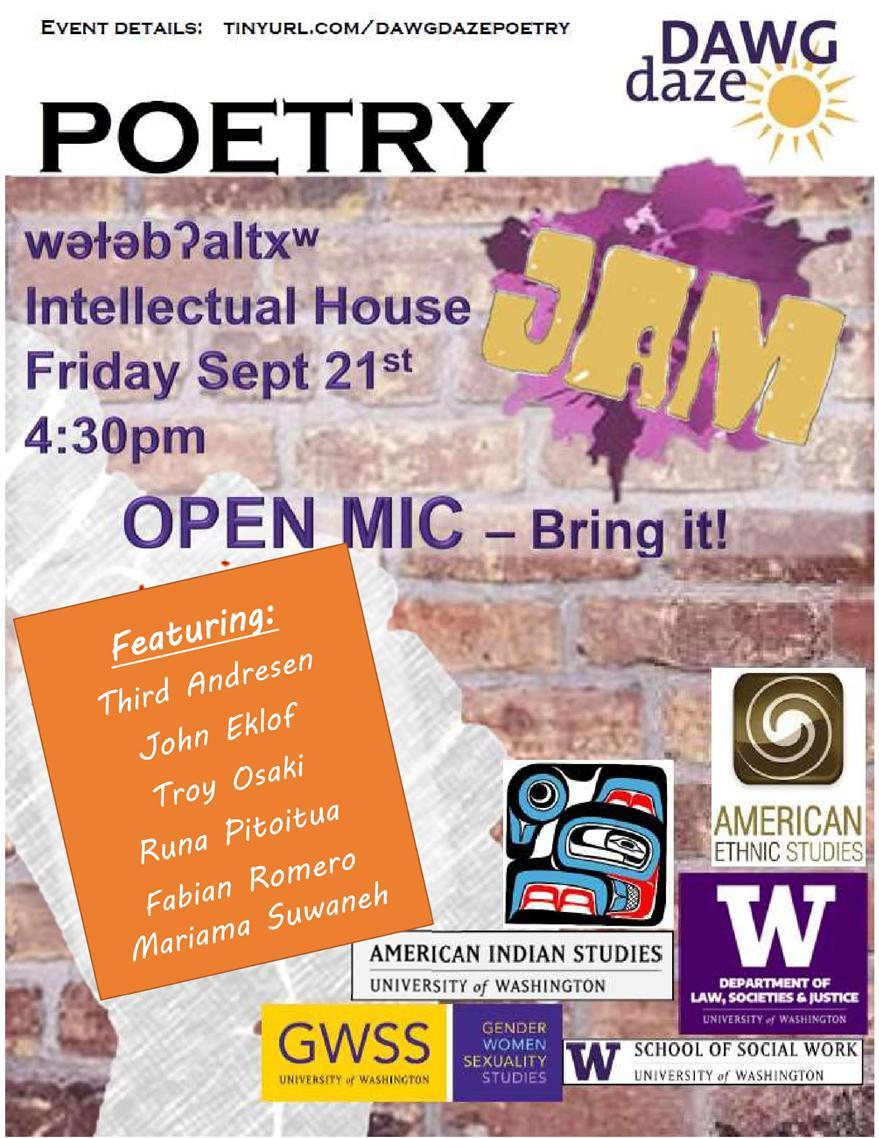 Social Justice Spoken Word/Poetry Open Mic! A UW Dawg Daze Event