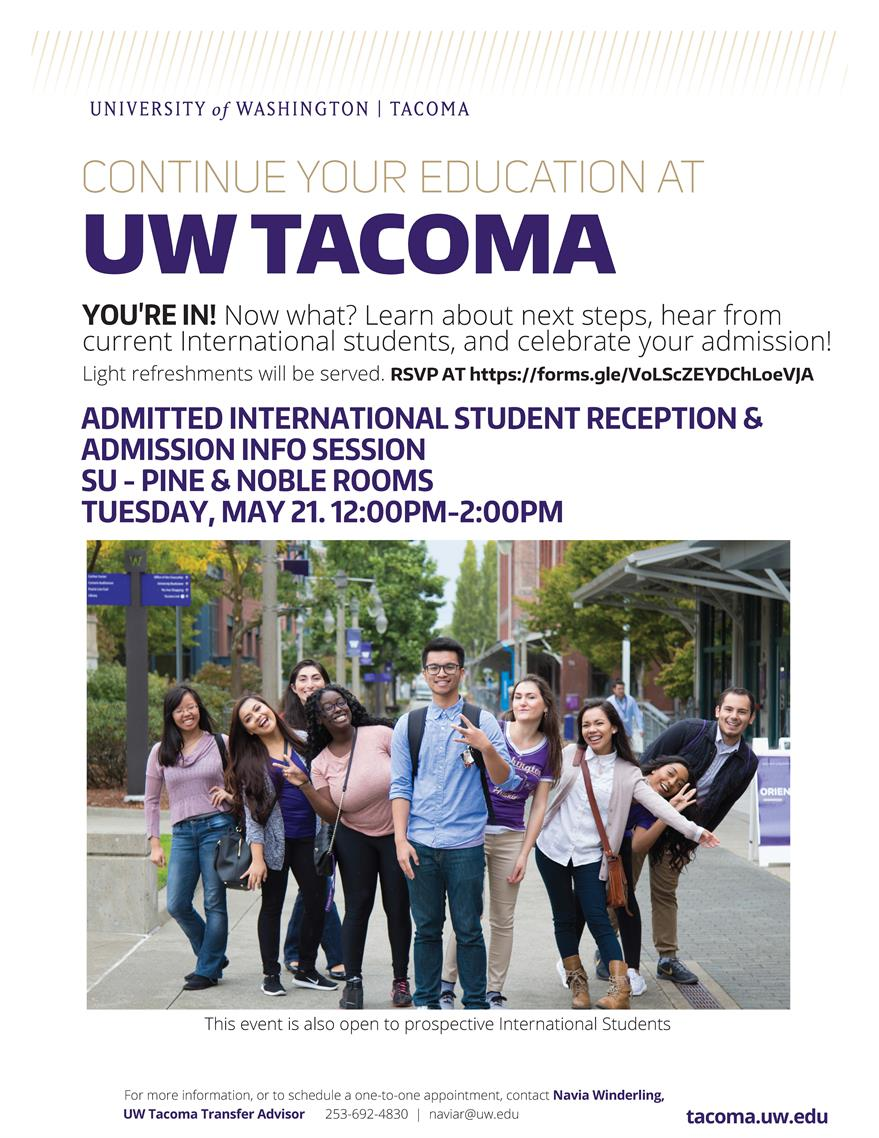 UW Tacoma at GRC -  International Admissions Celebration and Info Session