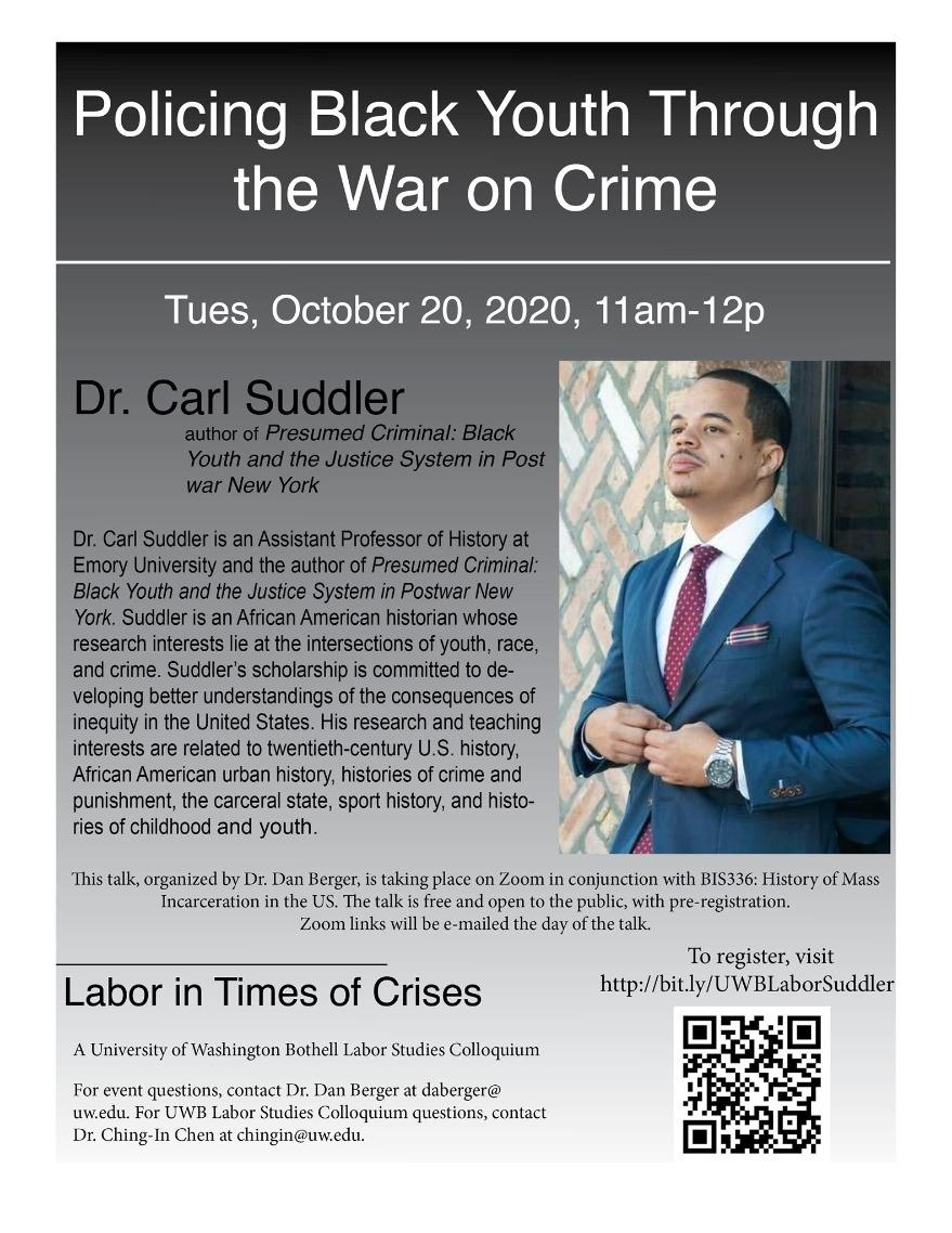 "Dr. Carl Suddler on ""Policing Black Youth Through the War on Crime"""