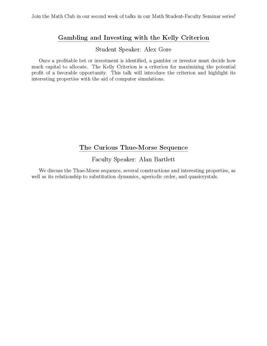 Math Club: Capstone Presentations