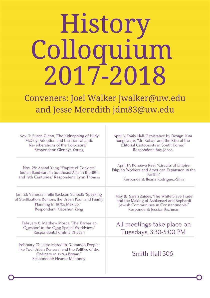 History Colloquium  2017-2018
