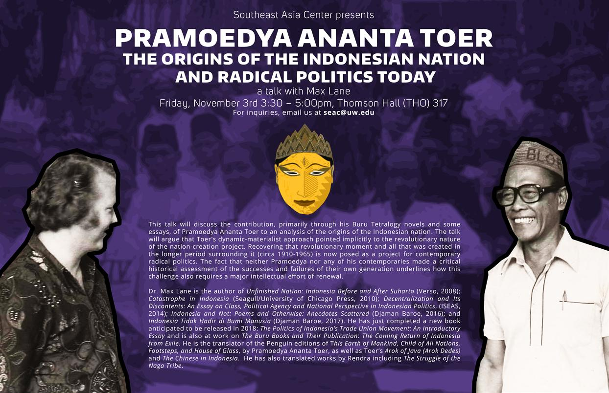Pramoedya Ananta Toer, the Origins of the Indonesian Nation and Radical Politics Today.