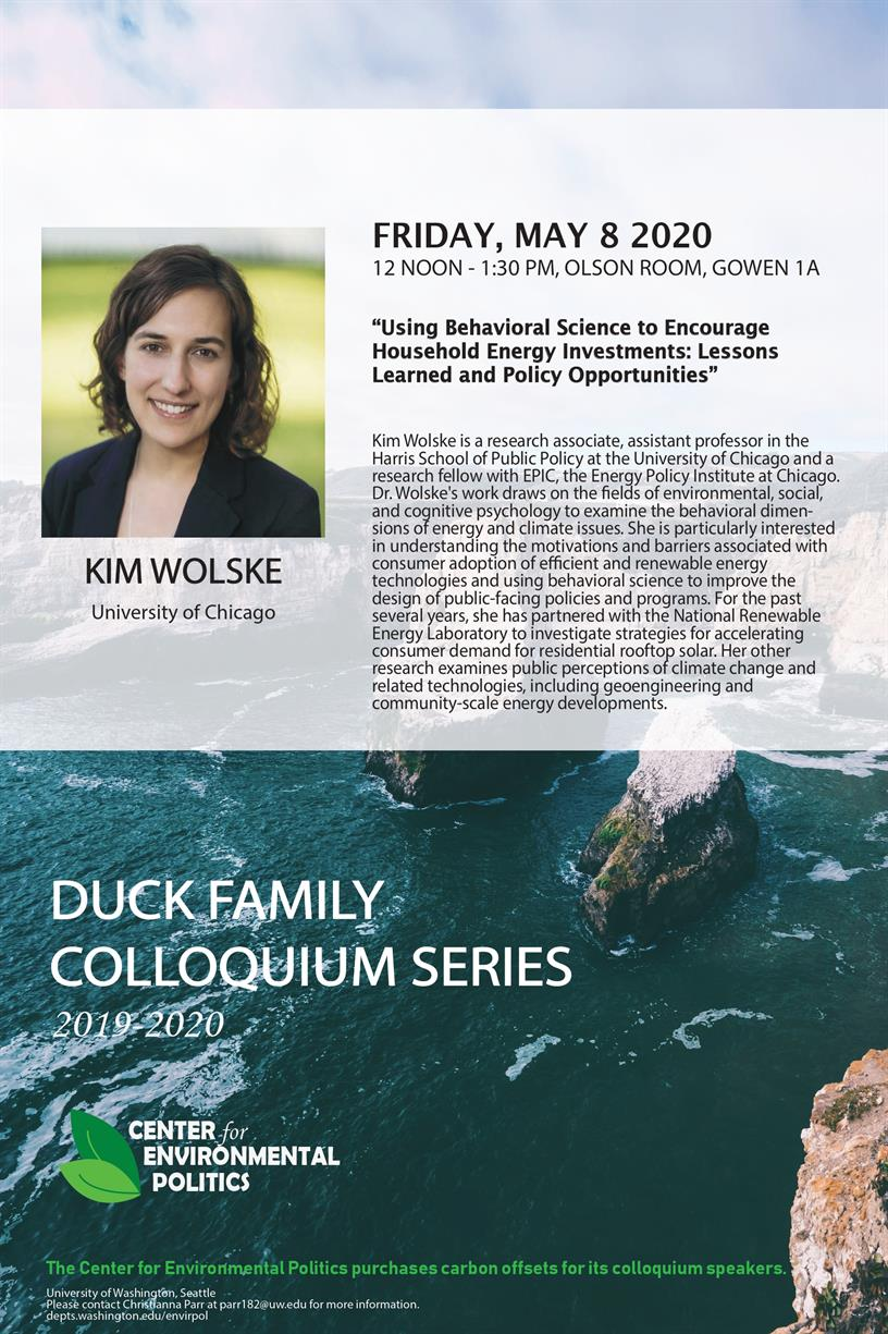 CANCELED - Kim Wolske: UW Center for Environmental Politics' Duck Family Colloquium Series