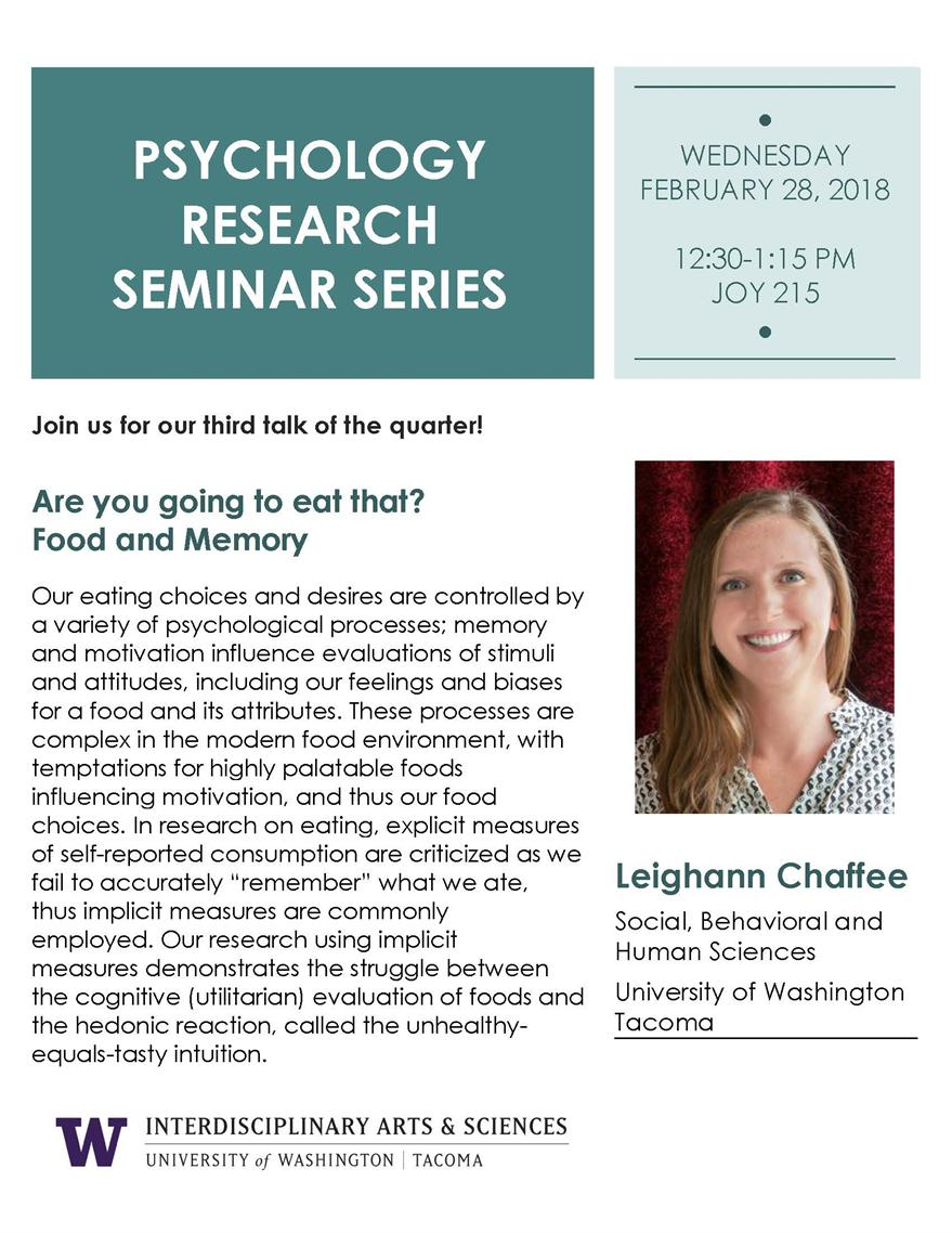 Are you going to eat that? Food and Memory: Psychology Seminar Series