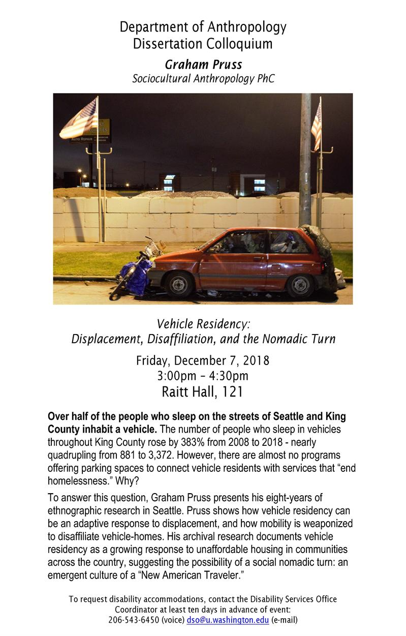 "Anthropology Dissertation Colloquium - Graham Pruss ""Vehicle Residency: Displacement, Disaffiliation, and the Nomadic Turn"""