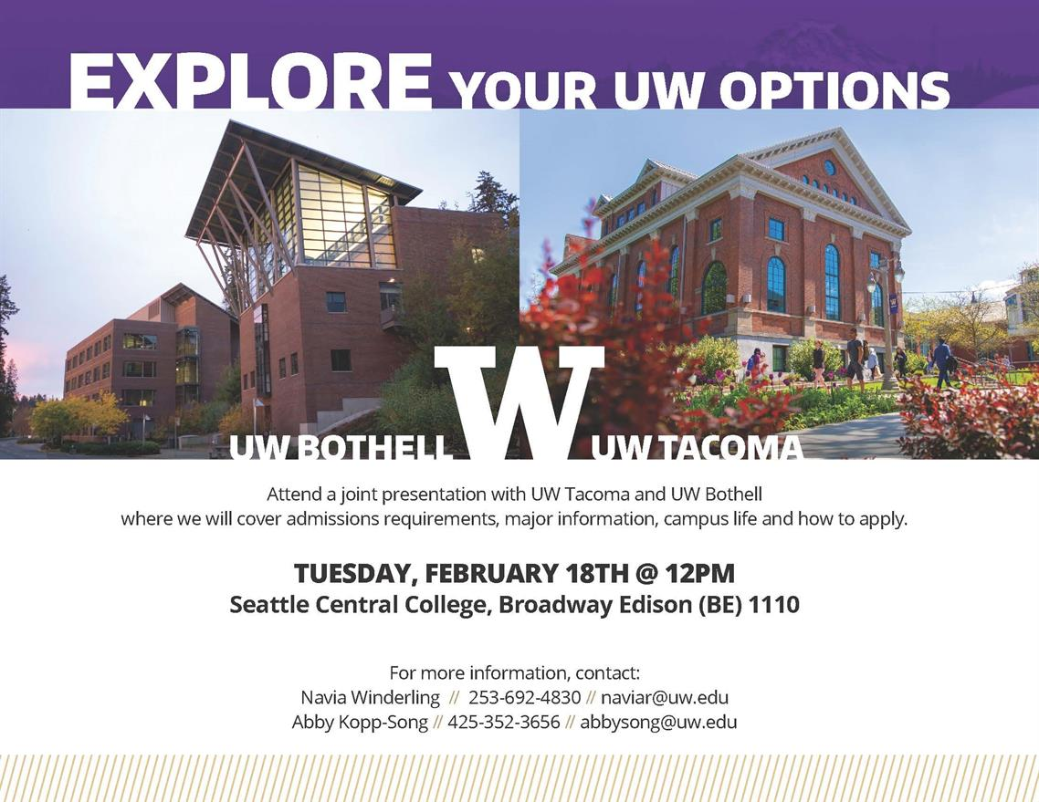 UW Tacoma and UW Bothell Admissions Presentation at Seattle Central Community College