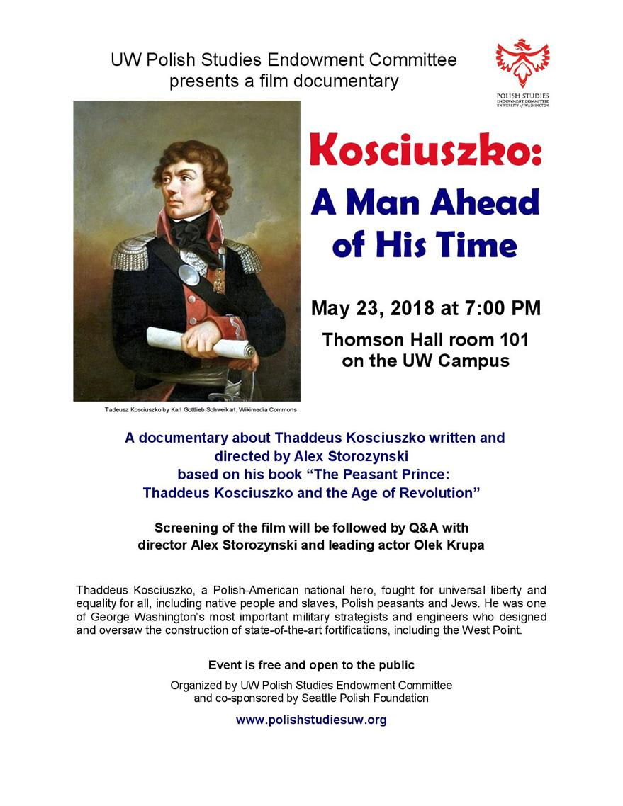 Screening of documentary film Kosciuszko: A Man Ahead of His Time followed by Q&A with director Alex Storozynski and leading actor Olek Krupa