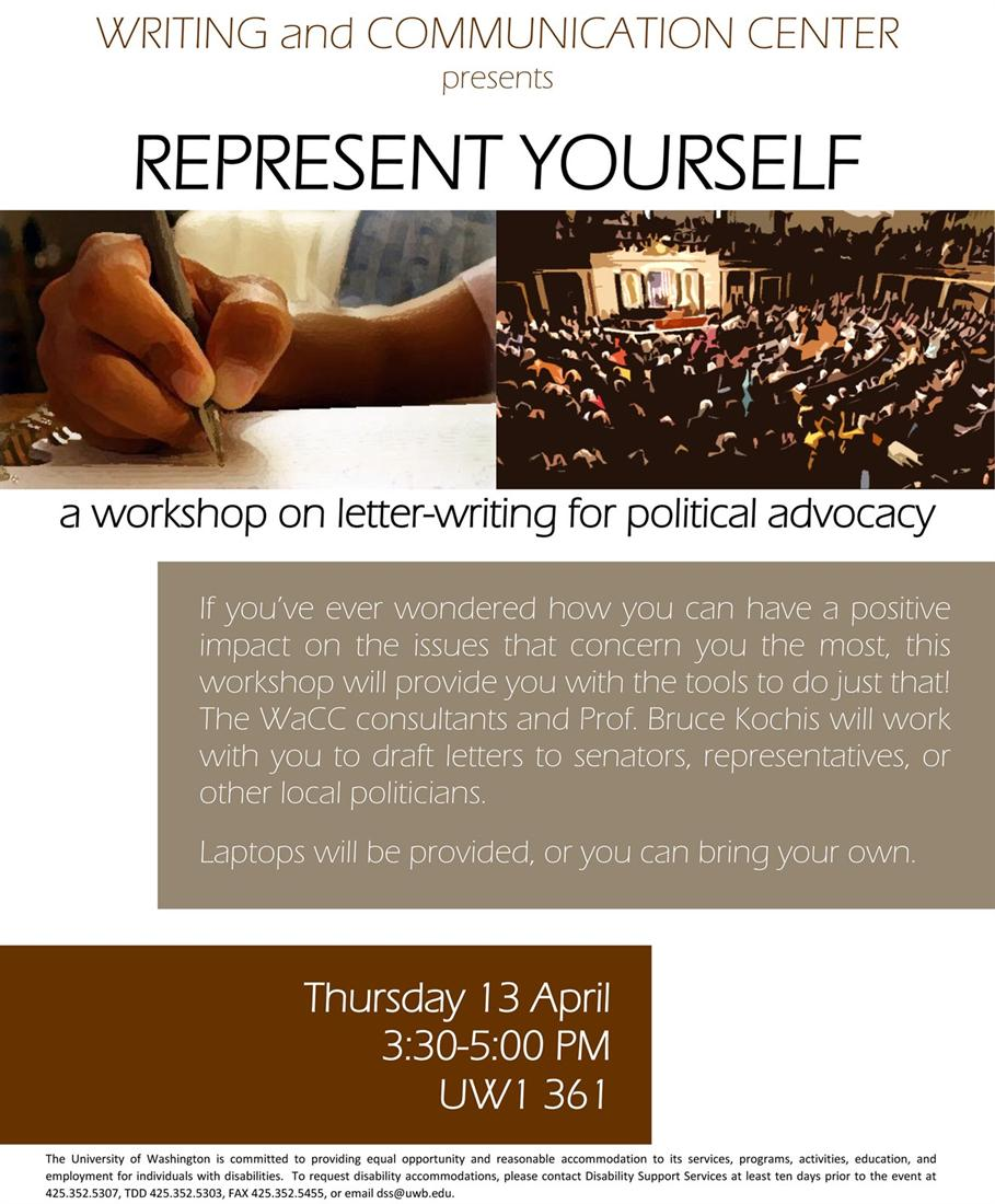 Represent Yourself: The WaCC's Political Advocacy Writing Workshop