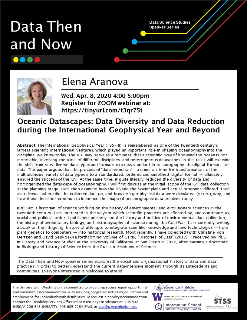 WEBINAR: Oceanic Datascapes: Data Diversity and Data Reduction during the International Geophysical Year and Beyond  - Elena Aranova