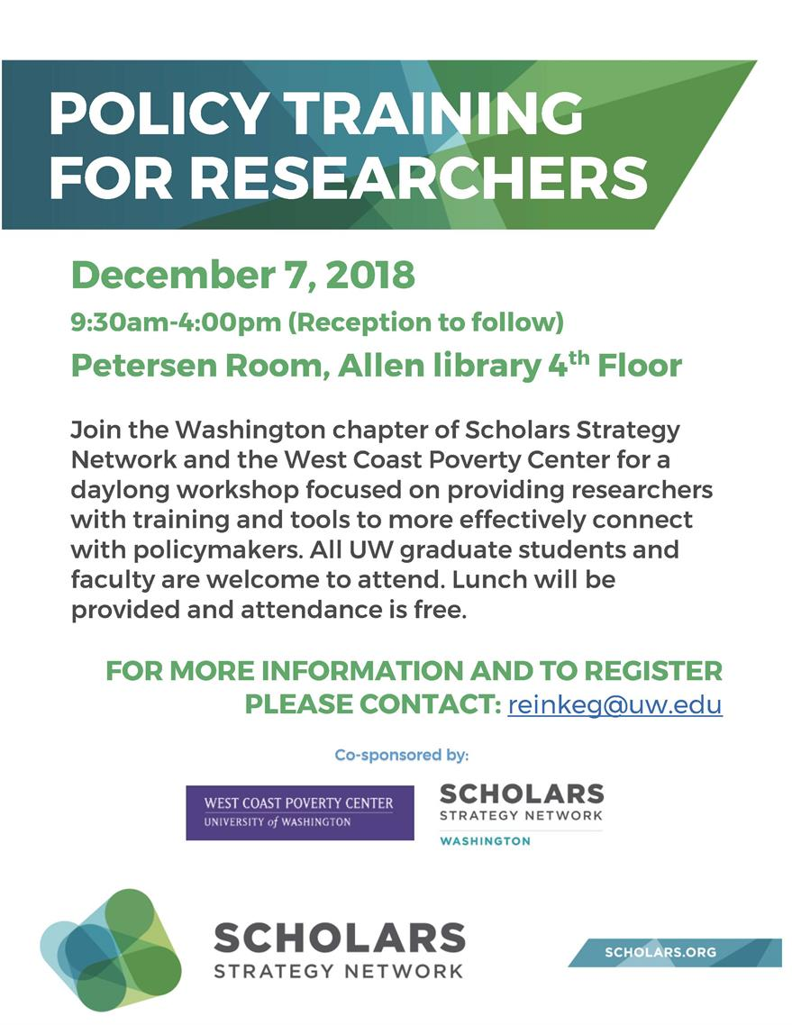 Policy Training For Researchers, SSN & WCPC