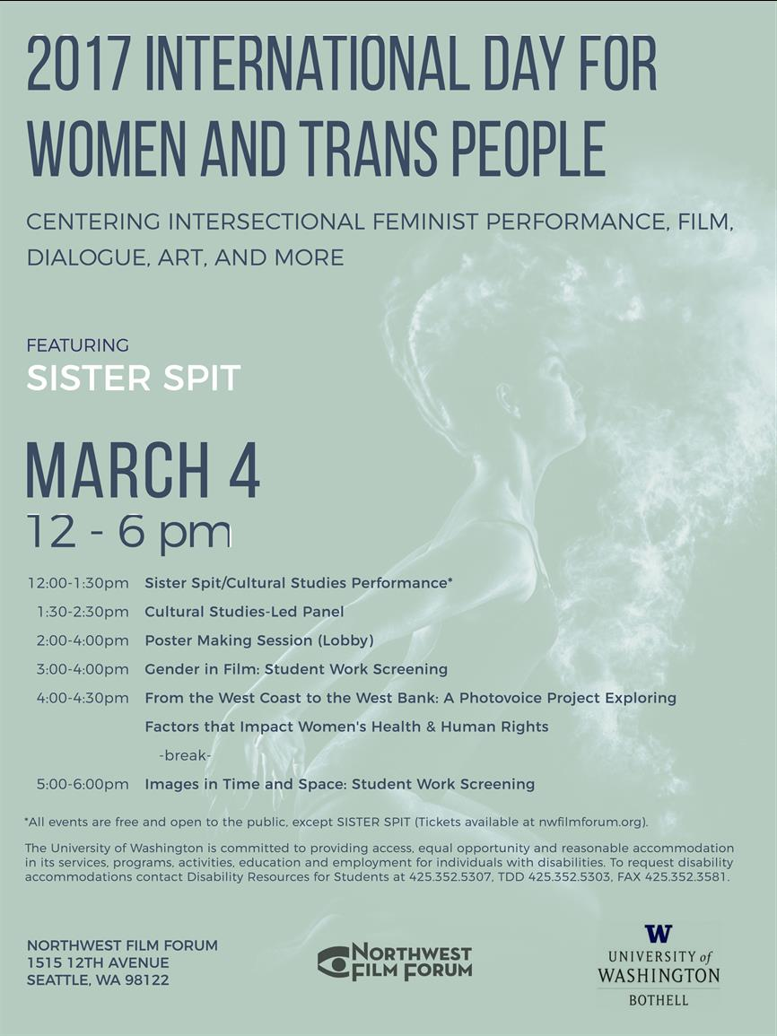 International Day for Women and Trans People: Centering Intersectional Feminist Performance, Film, Dialogue, Art, and More