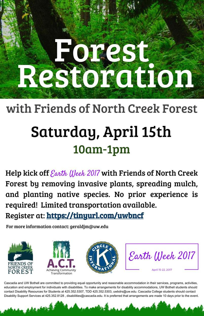 Earth Week: Forest Restoration with Friends of North Creek Forest