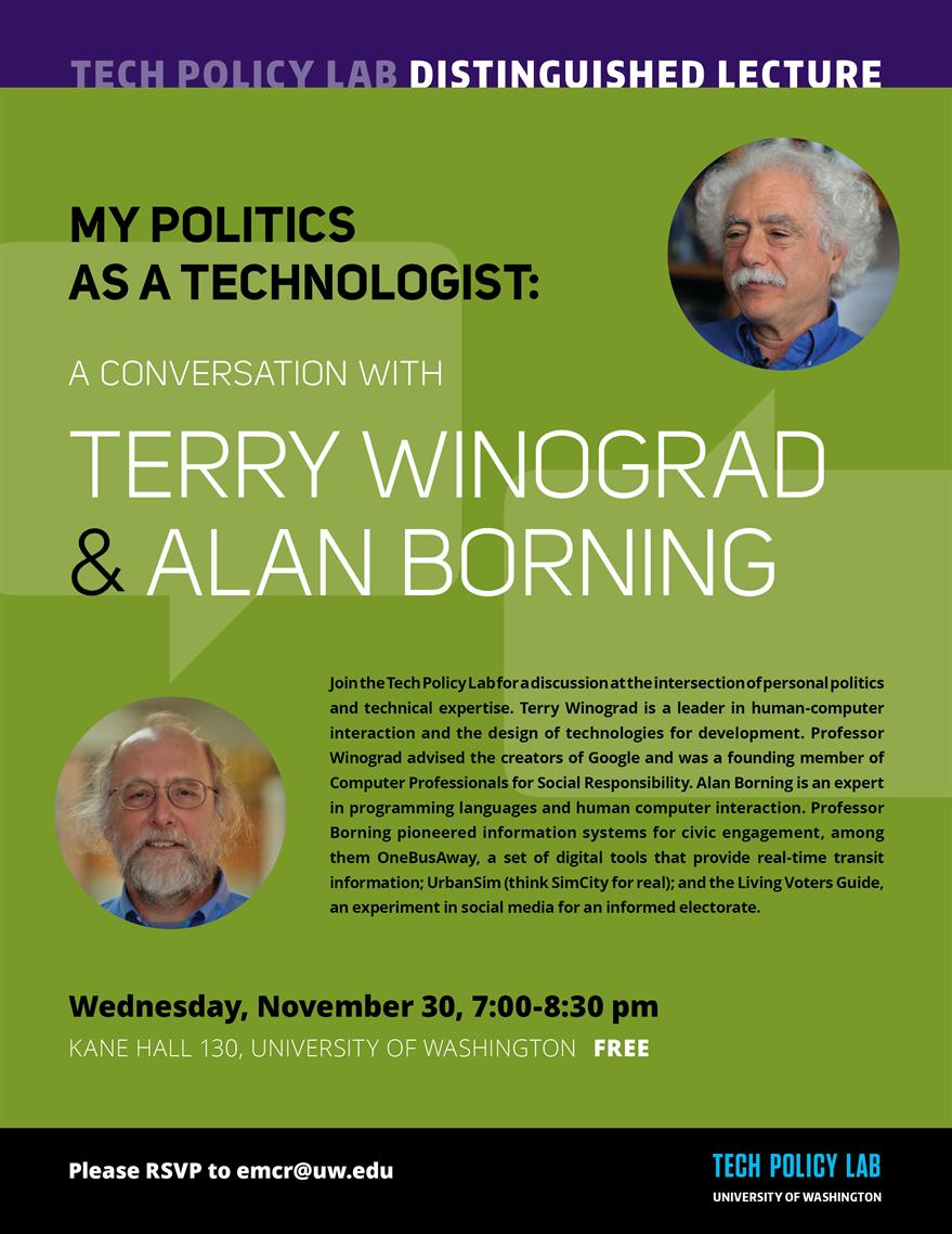 Tech Policy Lab Fall Distinguished Lecture: My Politics as a Technologist