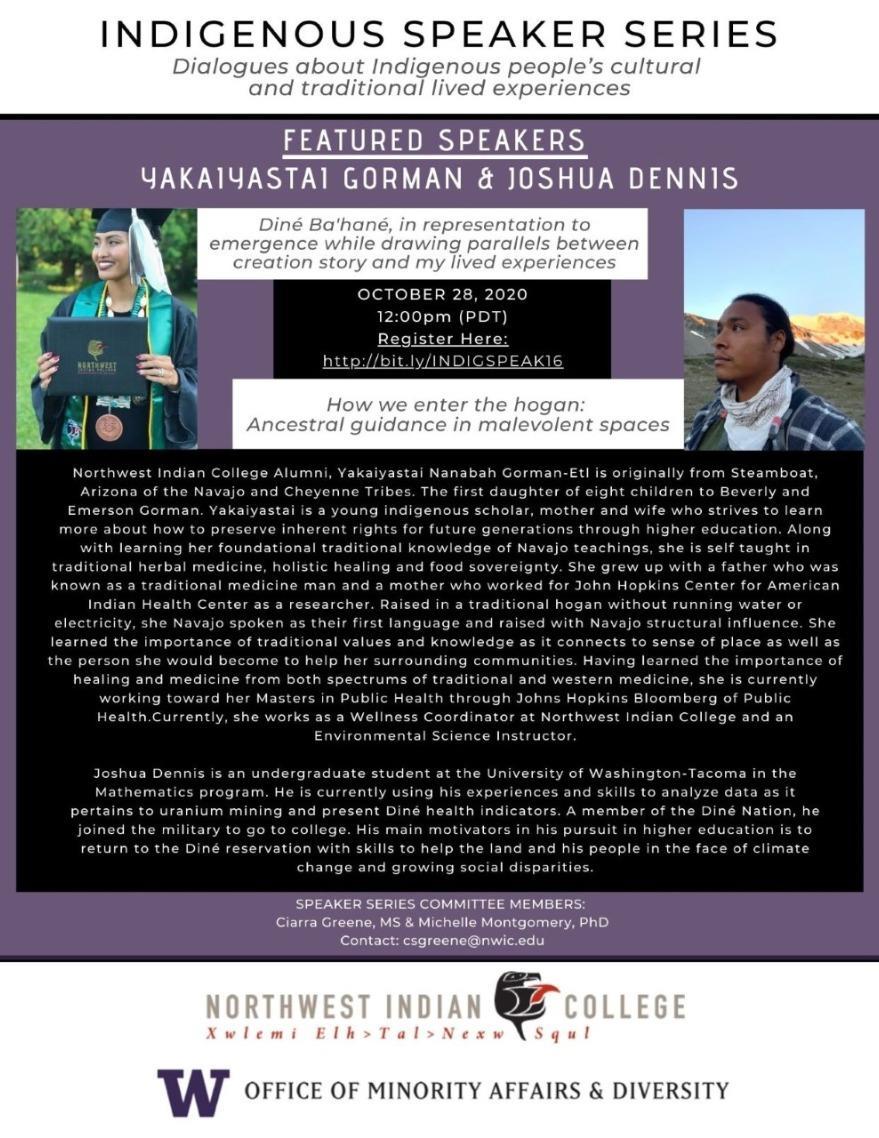 Indigenous Speaker Series: Yakaiyastai Gorman & Joshua Dennis